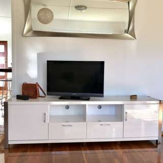 Large White High Gloss Entertainment Unit
