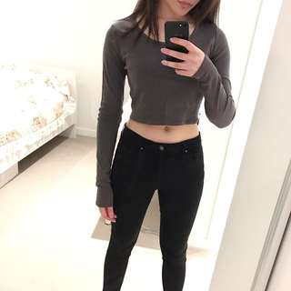 Grey Long Sleeve Crop Top By Topshop