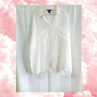 Forever 21 White Sheer Top