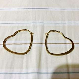 Heart Hoop Earings Gold