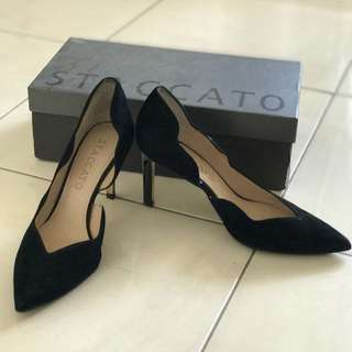 staccato black office shoes