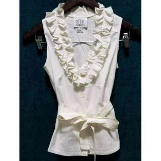 Sequel Sleeveless Ruffled blouse with belt