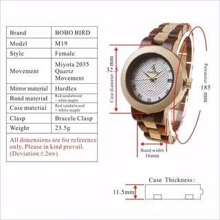 BOBO BIRD M19 Bamboo & Rose Sandal Watch Color Blocking Womens Dress Wristwatch
