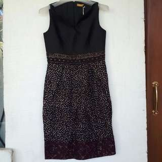 Black Batik Viscose Dress Size M