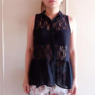 H&M Divided Peplum Lace Top