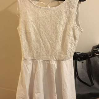 Princess Polly White Lace Dress Tulle Open Back Skater Size 10