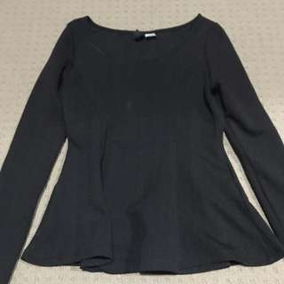 Divided Peplum Long Sleeves