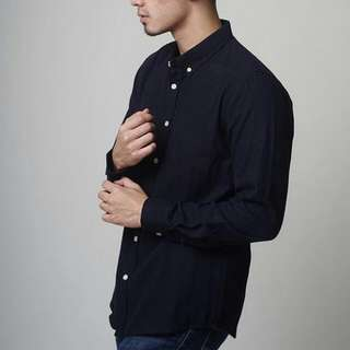 ️NEW JUAL RUGI - Plain Flanel Shirt (Navy) Size M (talent wearing size M)