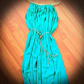 Grecian Style Green Emerald Dress With Gold Rope Detailing And Belt
