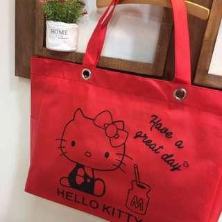 🚚 Kitty全新 獨家限定 自訂款 超可愛❤️ 🎀拉鍊式大容量 萬用 手提收納袋 購物袋 (單面印刷)
