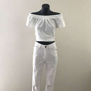 Cotton On Jeans - White Skinny With Ripped Knee Details