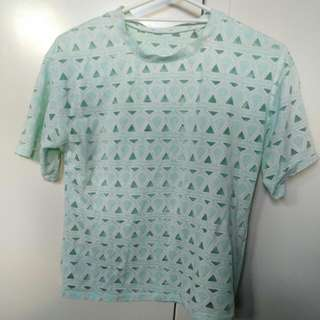 Mint Green Geometric Top Size 8