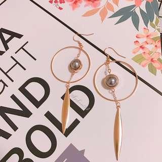現貨🎁手作優雅灰色珍珠長款耳環(10cm)