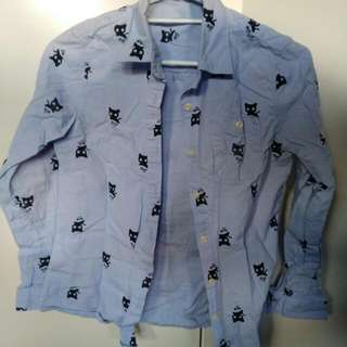 Long Sleeve Shirt With Cat Print Size 8