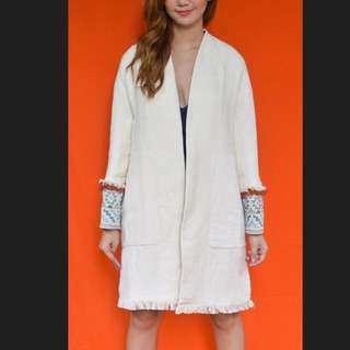HK$899 ZARA Jacquard Cuff Frayed Hem Open Overcoat  - Frock / Dress Coat