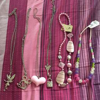Rainbow, Pink, Love, Silver Necklace / Kalung