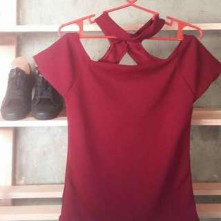 Trendy Tops Color:maroon, And Light Blue