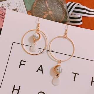 現貨🎁大理石圓珠不對稱耳環