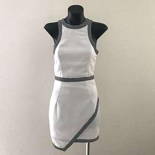 No Brand Mini Dress - White With Chevron Print Trimmings