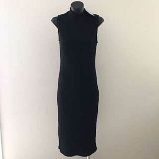 Valleygirl Dress - Black With Ribbed Texture