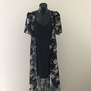 Dotti Dress And Overlay Set - Floral And Black