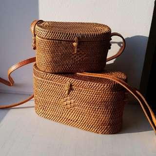 Medium Rattan Sling Bag