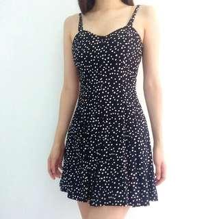 Vintage Black And White Polka-dot Skater Dress