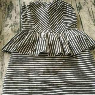 條紋平口連身洋裝