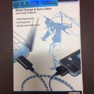 Black Charge & Sync Cable for iphone4/4s iPad 1/2/3 流光數據線
