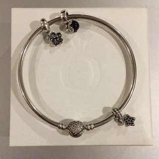 Pandora Silver Bangle with 3 Charms