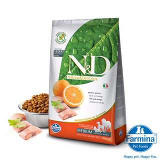 FARMINA法米納 -ND挑嘴成犬天然無穀糧(鯡魚甜橙)(潔牙顆粒)2.5kg 全台最低價