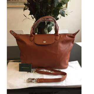 Longchamp Cuir Caramel Medium Bag (New, Genuine and On Hand for Shipping)