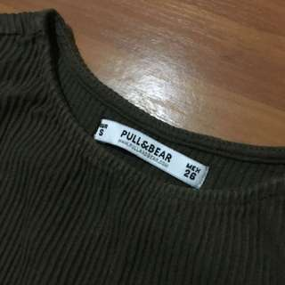 Pull And Bear Khaki Crop Singlet