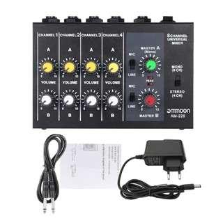 Ammoon Mixer 8 Channels For Karaoke Microphone Guitar Electric Drum Bass Audio Mixer