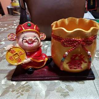 God Of Fortune Flower Pot (Ceramic Material). For Small Plant Or Display. Self Collect In Punggol Way At My Convenience.