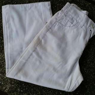 WHITE STARIGHT CUT PANTS