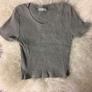 PARE basic Grey Cropped Top
