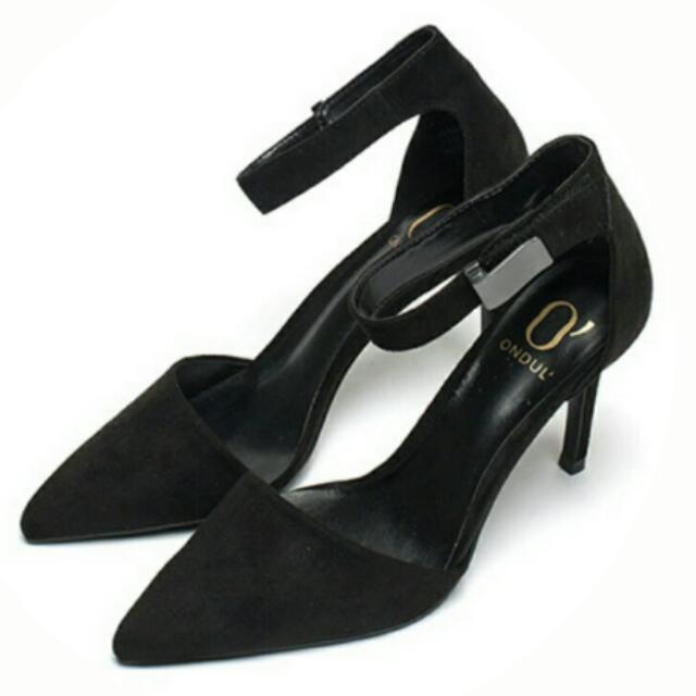 【預購】👠圓漾系列美型踝帶尖頭高跟鞋(質感黑)#我的女裝可超取