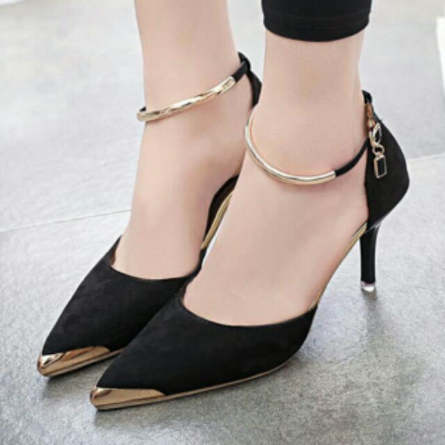【預購】👠首爾奢華綴飾金邊繫帶高跟尖頭包鞋 #我的女裝可超取