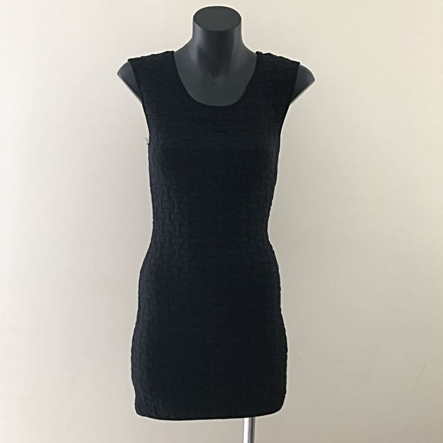 Ally Fashion Dress - Black Bodycon With Embossed Texture