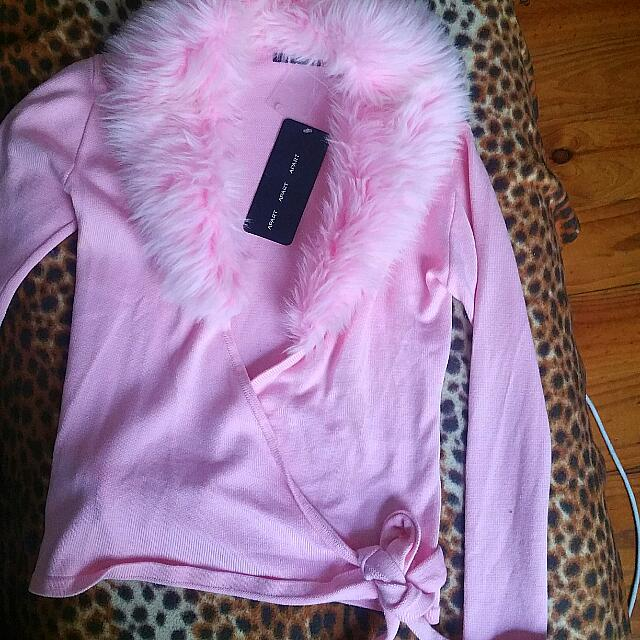 """Apart"" Pink Cardigan with Faux Fur Collar"