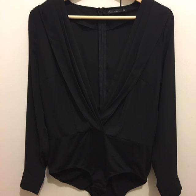 Black Long Sleeve v Neck Bodysuit