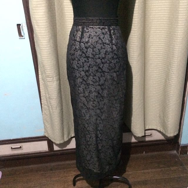 Black See Through Skirt With Lining