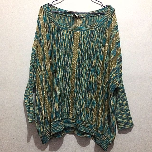 Blue& Gold Knit Top