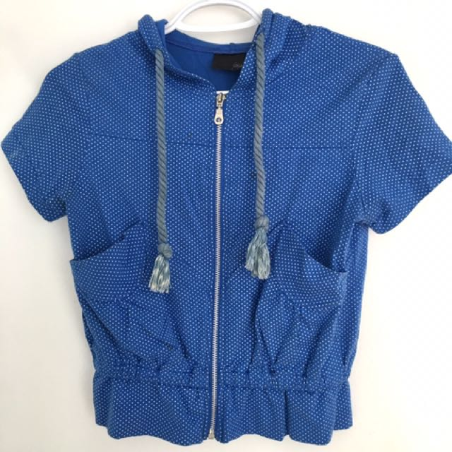 Blue Polka-Dotted Short Sleeved Hoodie
