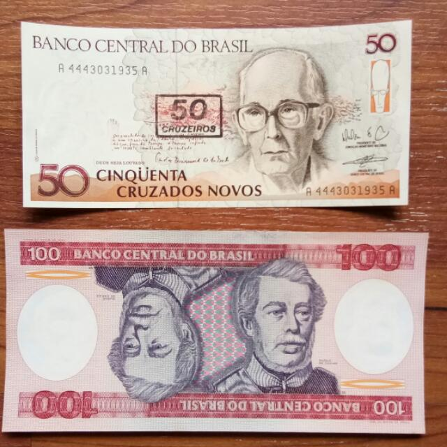 Brasil Currency 50 100 Duit Ketas Money Note Banco Central Do 2 Banknotes Ing Rm 14 00 Antiques On Carou