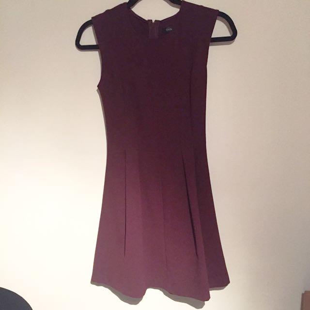 Burgundy Office/Work Dress