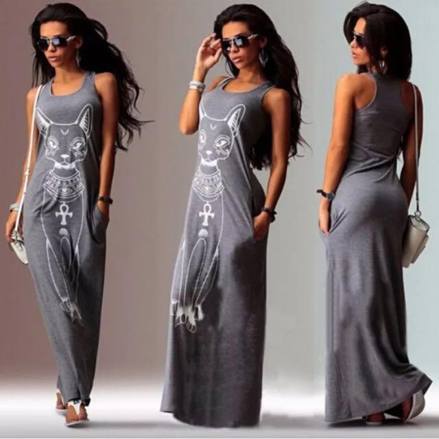 Cat Print Boho Summer Long Maxi Dress Sundress
