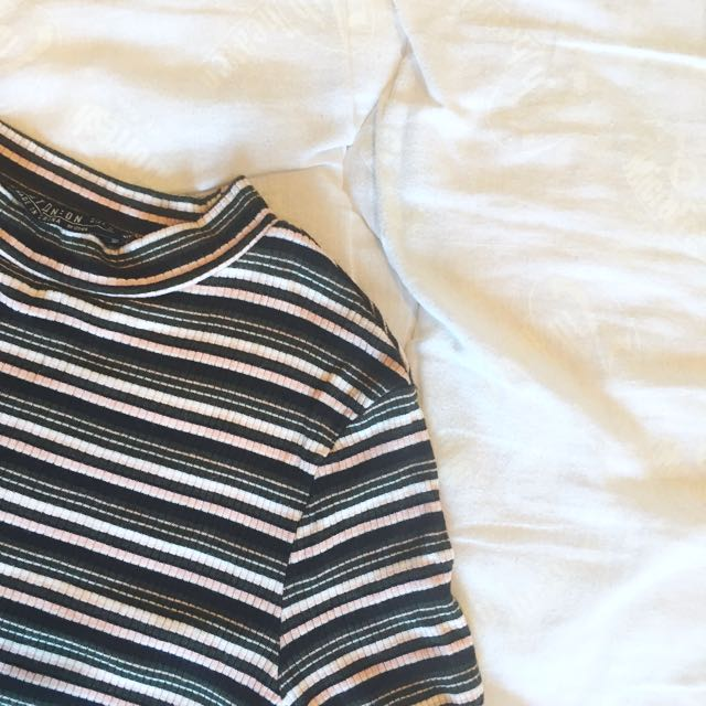 Cotton On Stripped Mock Neck Top