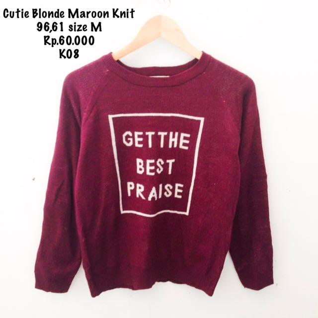 Cutie bloond Knit Maroon